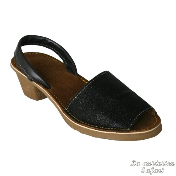 Sandalia ibicenca glitter con tacón Negro